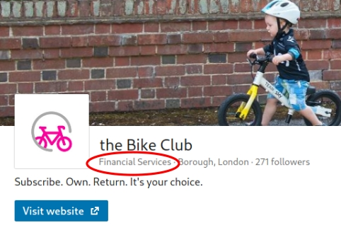 Picture of the Bike Club's LinkedIn page